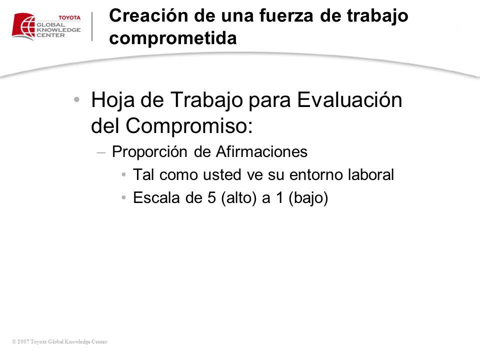 © 2007 Toyota Global Knowledge Center Creación de una fuerza de trabajo comprometida Hoja de Trabajo para Evaluación del Compromiso: –Proporción de Af