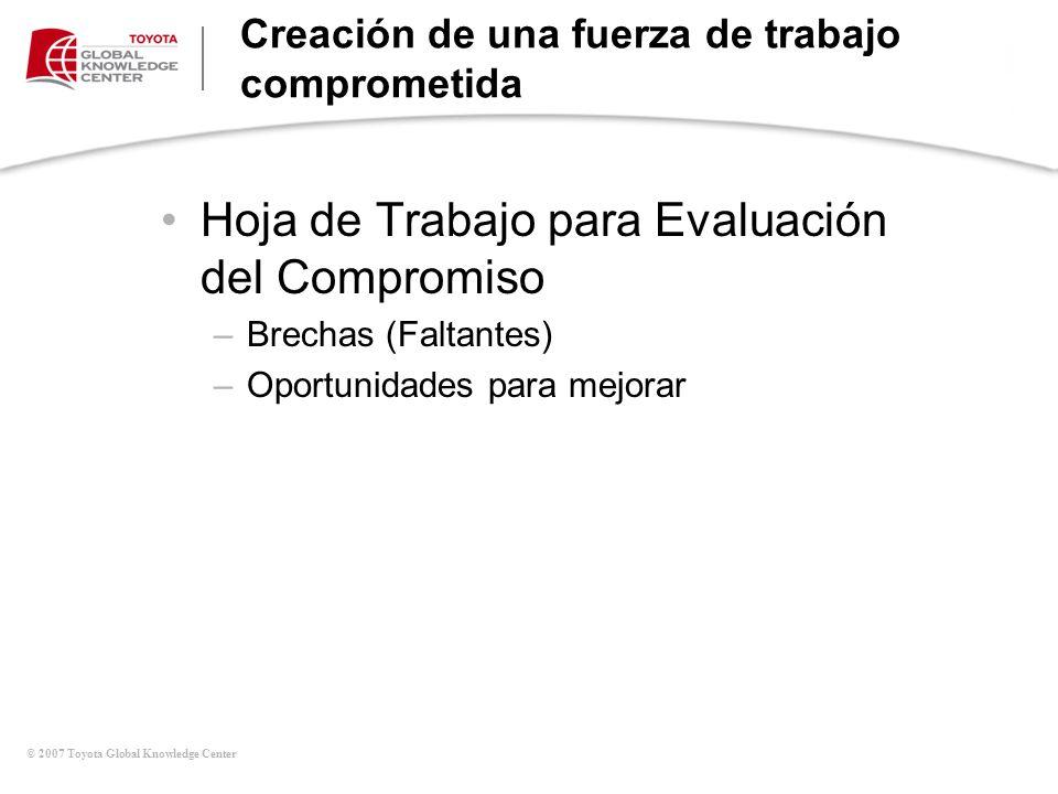 © 2007 Toyota Global Knowledge Center Creación de una fuerza de trabajo comprometida Hoja de Trabajo para Evaluación del Compromiso –Brechas (Faltante