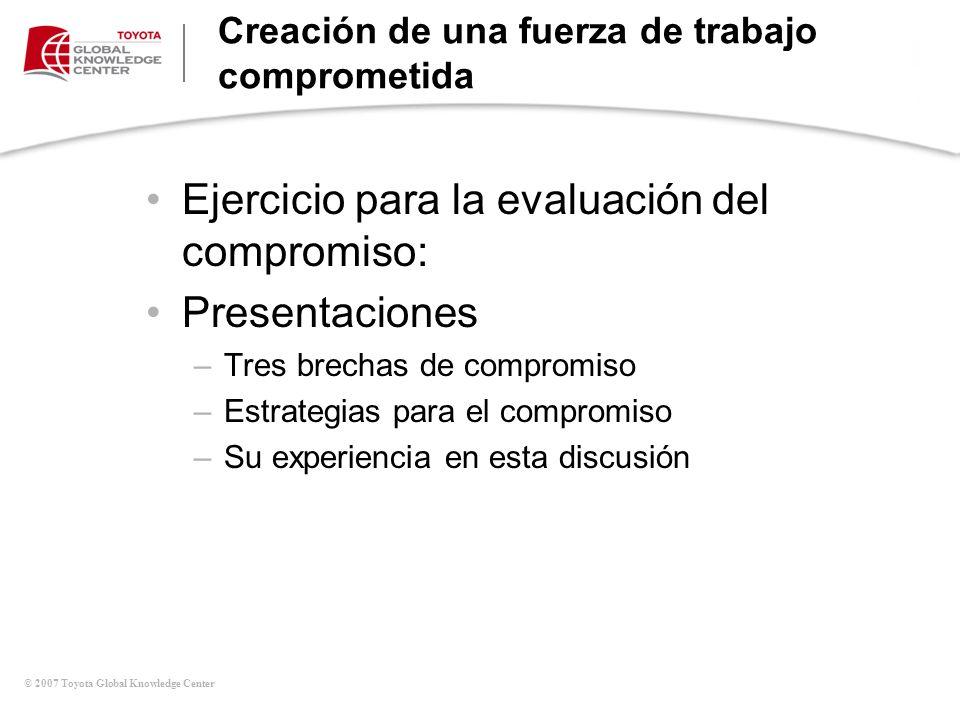 © 2007 Toyota Global Knowledge Center Creación de una fuerza de trabajo comprometida Ejercicio para la evaluación del compromiso: Presentaciones –Tres