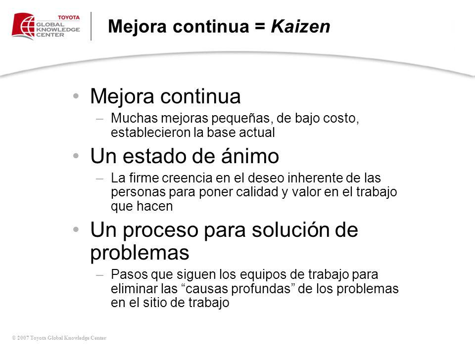© 2007 Toyota Global Knowledge Center Mejora continua = Kaizen Mejora continua –Muchas mejoras pequeñas, de bajo costo, establecieron la base actual U