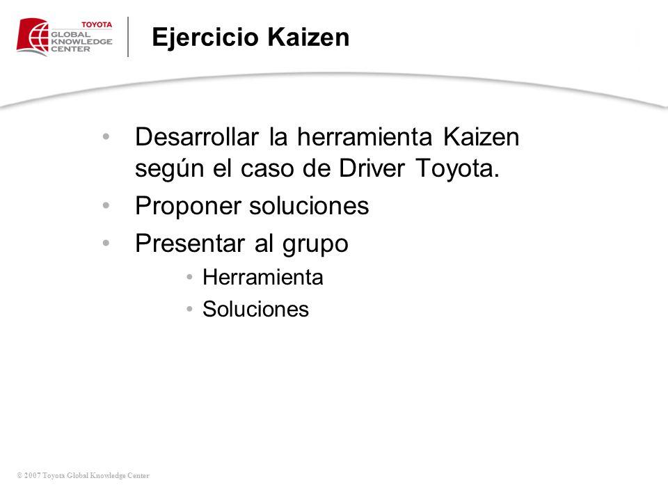 © 2007 Toyota Global Knowledge Center Ejercicio Kaizen Desarrollar la herramienta Kaizen según el caso de Driver Toyota. Proponer soluciones Presentar