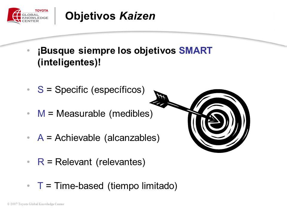 © 2007 Toyota Global Knowledge Center Objetivos Kaizen ¡Busque siempre los objetivos SMART (inteligentes)! S = Specific (específicos) M = Measurable (