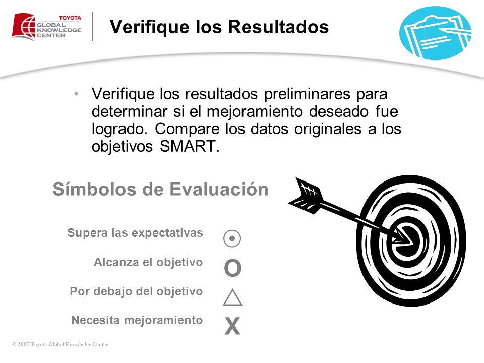 © 2007 Toyota Global Knowledge Center Verifique los Resultados Verifique los resultados preliminares para determinar si el mejoramiento deseado fue lo