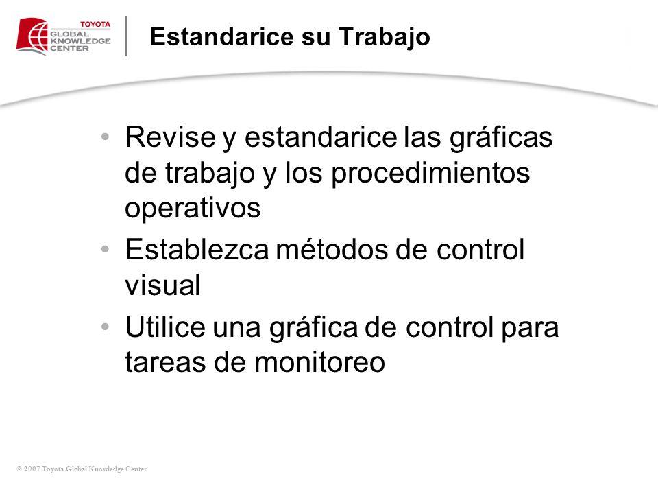© 2007 Toyota Global Knowledge Center Estandarice su Trabajo Revise y estandarice las gráficas de trabajo y los procedimientos operativos Establezca m