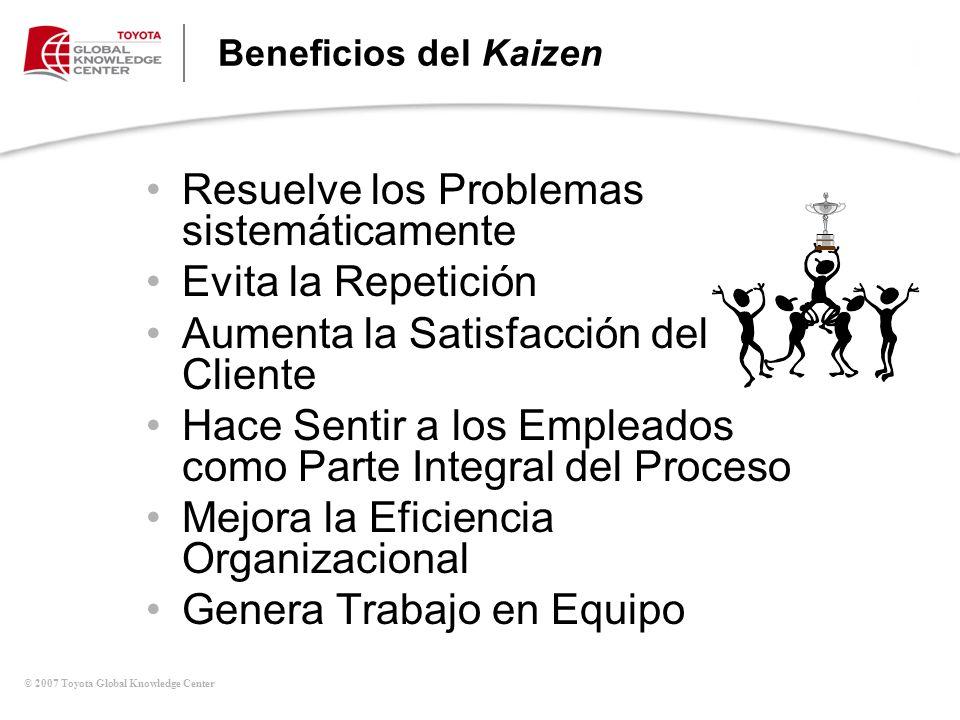 © 2007 Toyota Global Knowledge Center Beneficios del Kaizen Resuelve los Problemas sistemáticamente Evita la Repetición Aumenta la Satisfacción del Cl