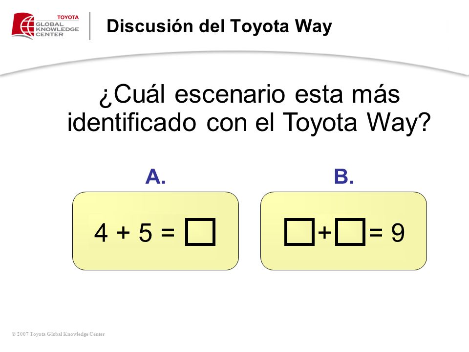 © 2007 Toyota Global Knowledge Center Discusión del Toyota Way ¿Cuál escenario esta más identificado con el Toyota Way? 4 + 5 =+ = 9 A.B.