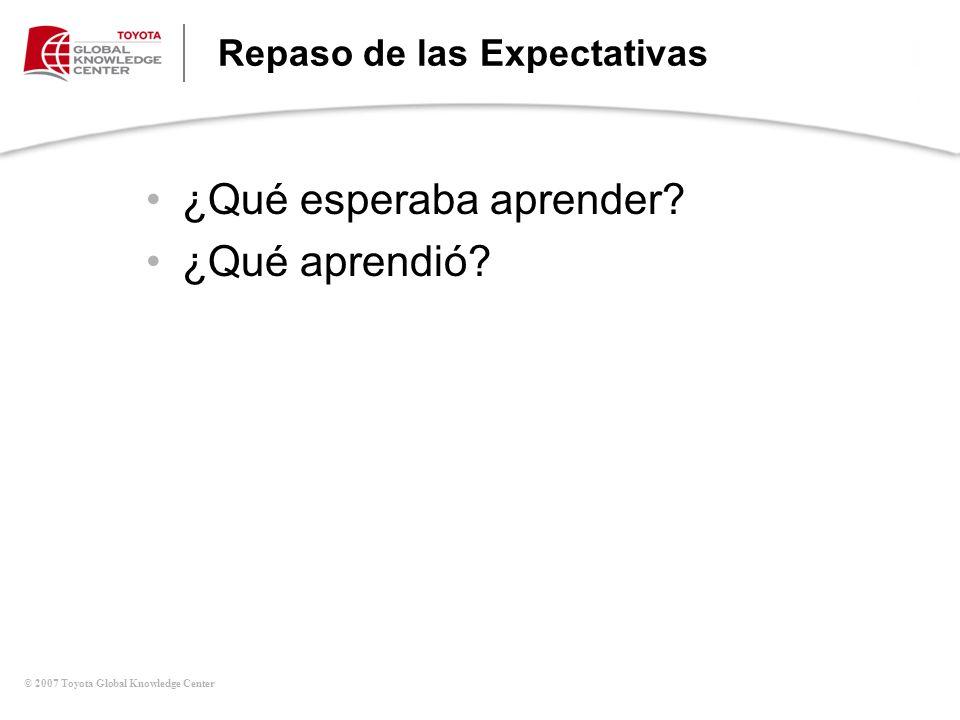 © 2007 Toyota Global Knowledge Center Repaso de las Expectativas ¿Qué esperaba aprender? ¿Qué aprendió?