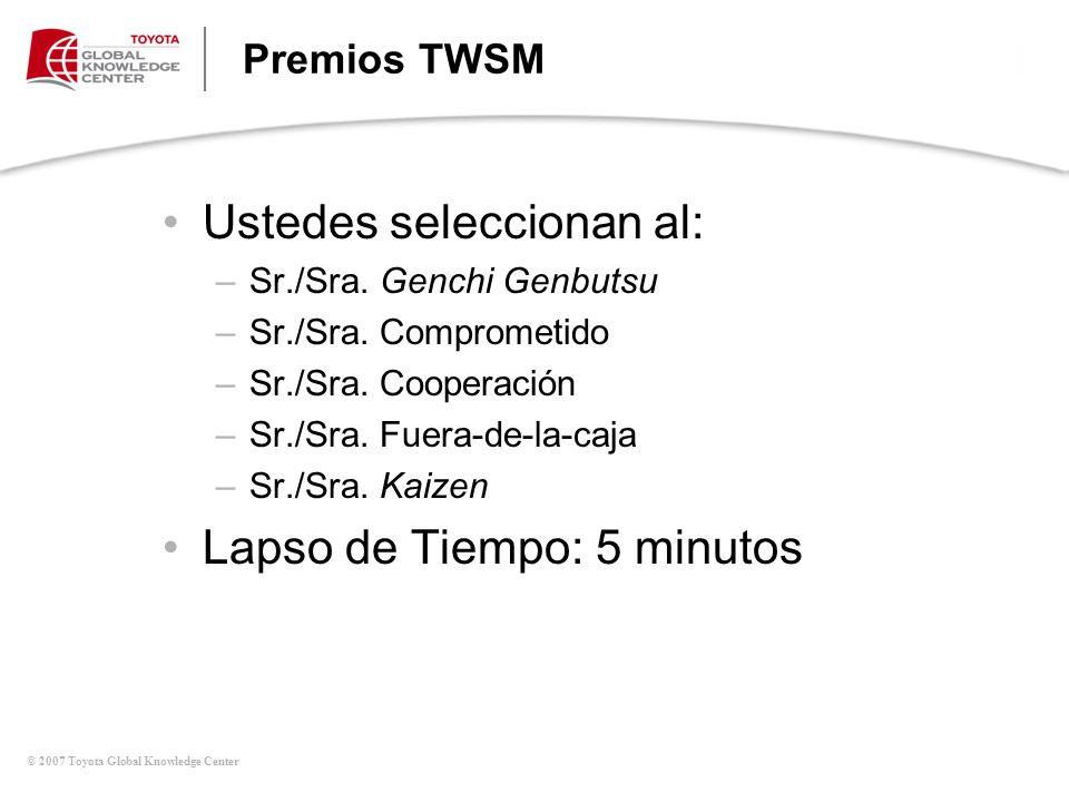 © 2007 Toyota Global Knowledge Center Premios TWSM Ustedes seleccionan al: –Sr./Sra. Genchi Genbutsu –Sr./Sra. Comprometido –Sr./Sra. Cooperación –Sr.
