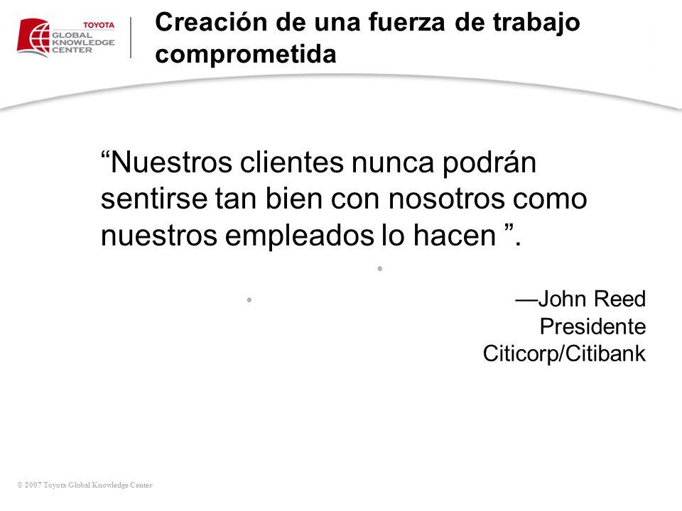 © 2007 Toyota Global Knowledge Center Creación de una fuerza de trabajo comprometida Cadena de ganancias por servicios