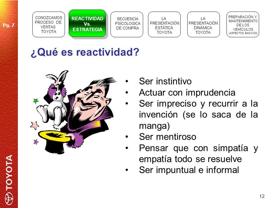 12 ¿Qué es reactividad? Ser instintivo Actuar con imprudencia Ser impreciso y recurrir a la invención (se lo saca de la manga) Ser mentiroso Pensar qu