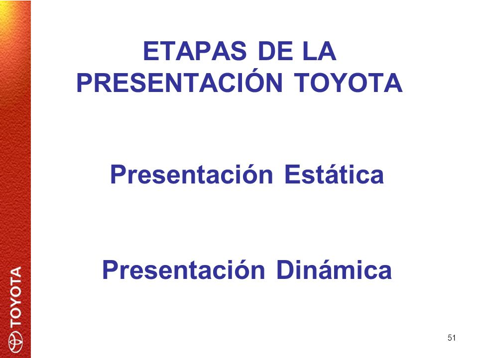 51 ETAPAS DE LA PRESENTACIÓN TOYOTA Presentación Estática Presentación Dinámica