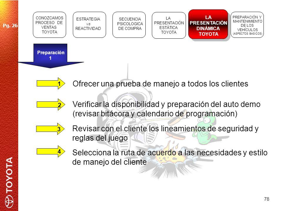 78 Preparación 1 1 23 4 Ofrecer una prueba de manejo a todos los clientes Selecciona la ruta de acuerdo a las necesidades y estilo de manejo del clien
