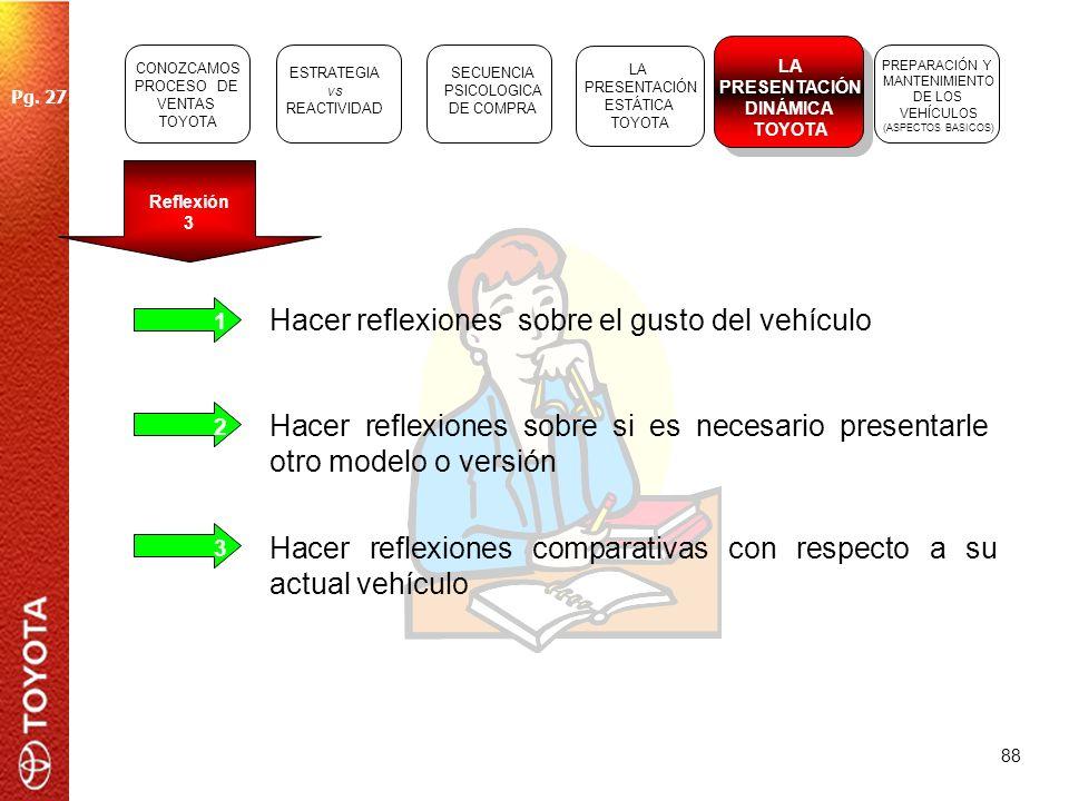 88 Reflexión 3 1 Hacer reflexiones sobre el gusto del vehículo Hacer reflexiones sobre si es necesario presentarle otro modelo o versión Hacer reflexi