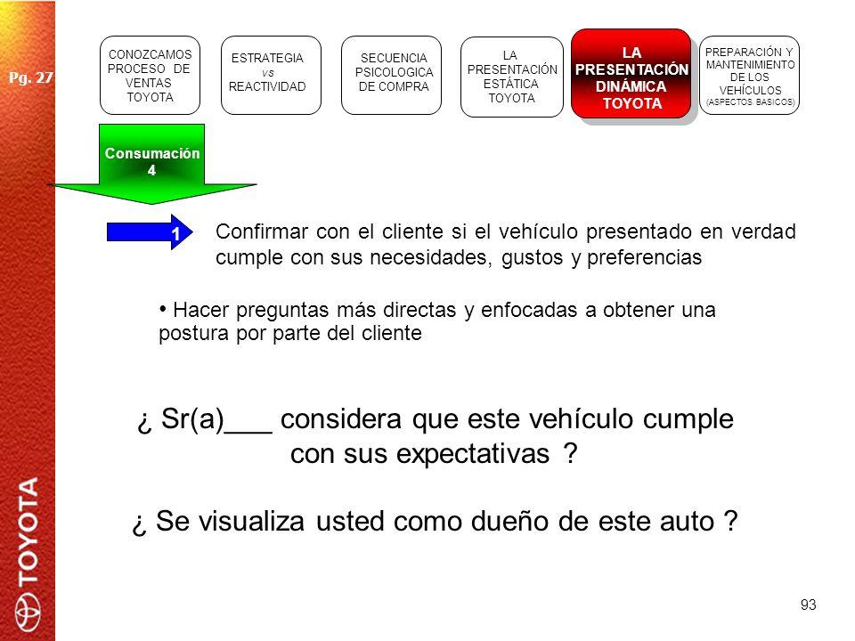 93 1 Confirmar con el cliente si el vehículo presentado en verdad cumple con sus necesidades, gustos y preferencias ¿ Sr(a)___ considera que este vehí