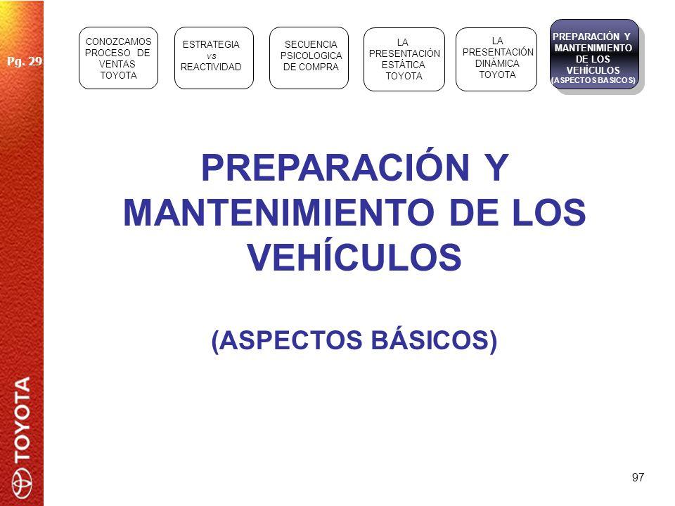 97 PREPARACIÓN Y MANTENIMIENTO DE LOS VEHÍCULOS (ASPECTOS BÁSICOS) ESTRATEGIA vs REACTIVIDAD SECUENCIA PSICOLOGICA DE COMPRA LA PRESENTACIÓN ESTÁTICA