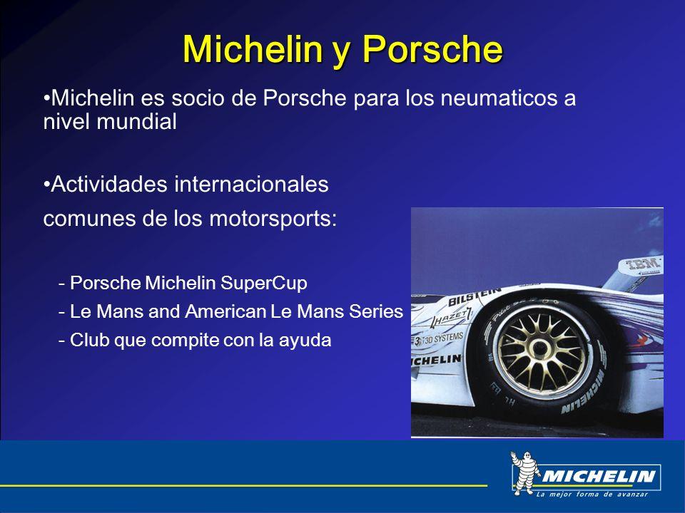 Michelin y Porsche Michelin es socio de Porsche para los neumaticos a nivel mundial Actividades internacionales comunes de los motorsports: - Porsche