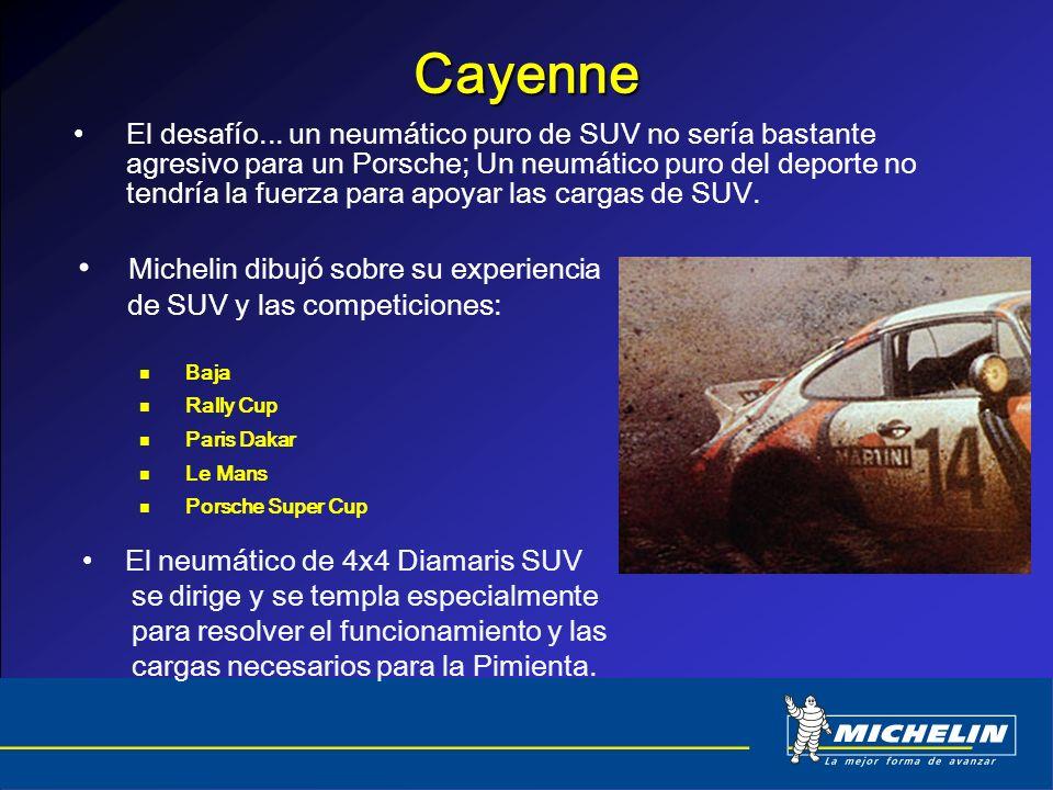 Cayenne El desafío... un neumático puro de SUV no sería bastante agresivo para un Porsche; Un neumático puro del deporte no tendría la fuerza para apo