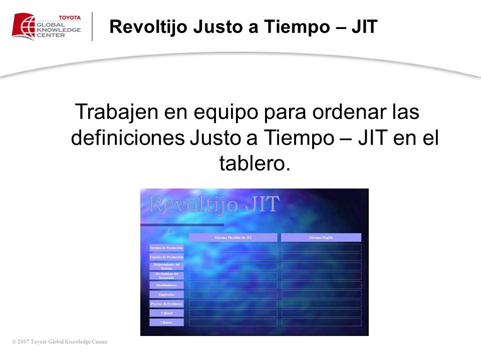 © 2007 Toyota Global Knowledge Center Trabajen en equipo para ordenar las definiciones Justo a Tiempo – JIT en el tablero. Revoltijo Justo a Tiempo –