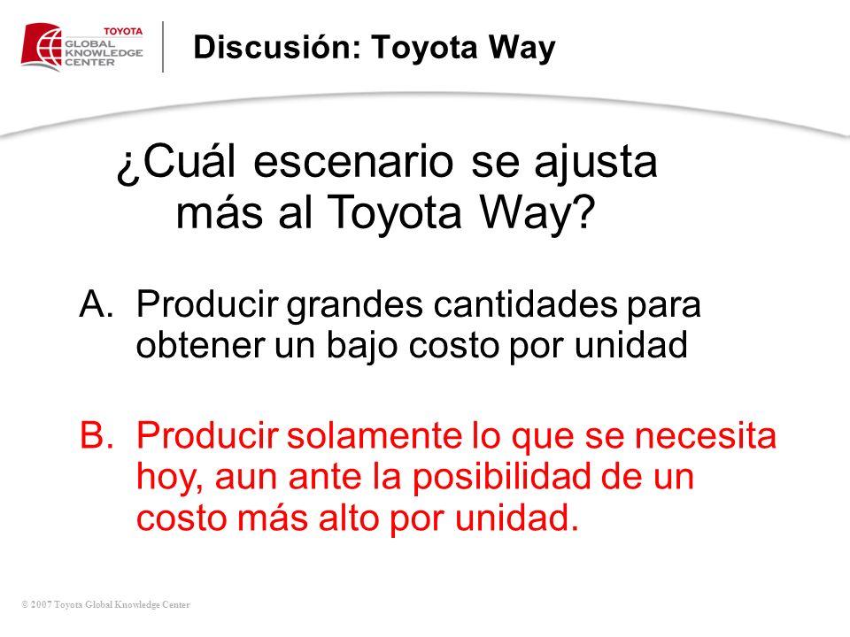 © 2007 Toyota Global Knowledge Center Discusión: Toyota Way ¿Cuál escenario se ajusta más al Toyota Way? A.Producir grandes cantidades para obtener un