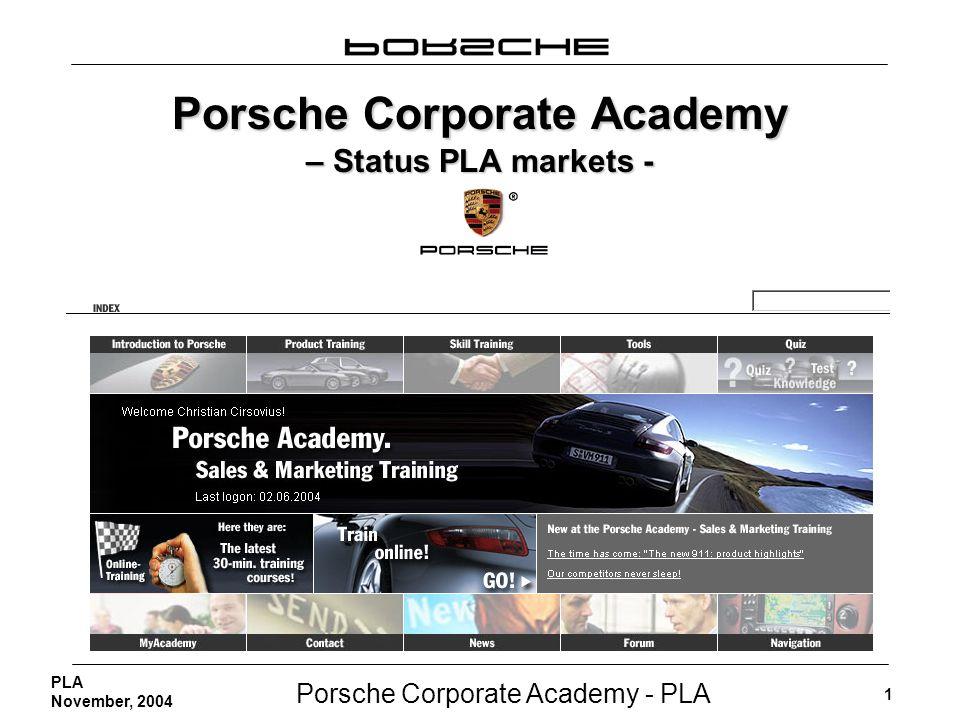 Porsche Corporate Academy - PLA 1 PLA November, 2004 Porsche Corporate Academy – Status PLA markets -