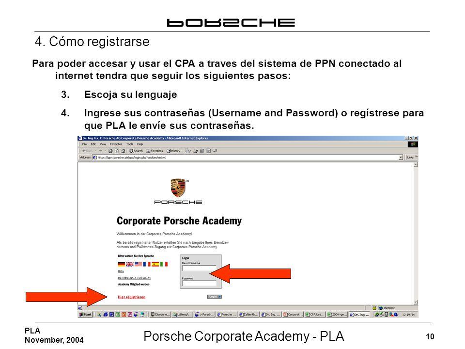 Porsche Corporate Academy - PLA 10 PLA November, 2004 Para poder accesar y usar el CPA a traves del sistema de PPN conectado al internet tendra que se