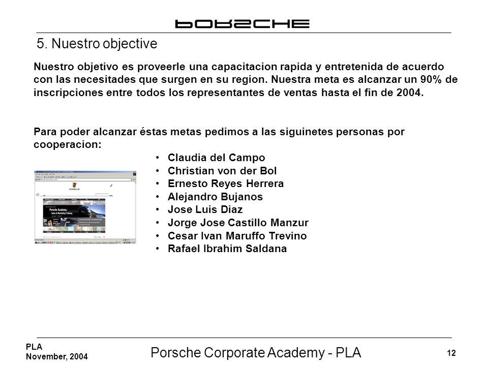 Porsche Corporate Academy - PLA 12 PLA November, 2004 Nuestro objetivo es proveerle una capacitacion rapida y entretenida de acuerdo con las necesitad