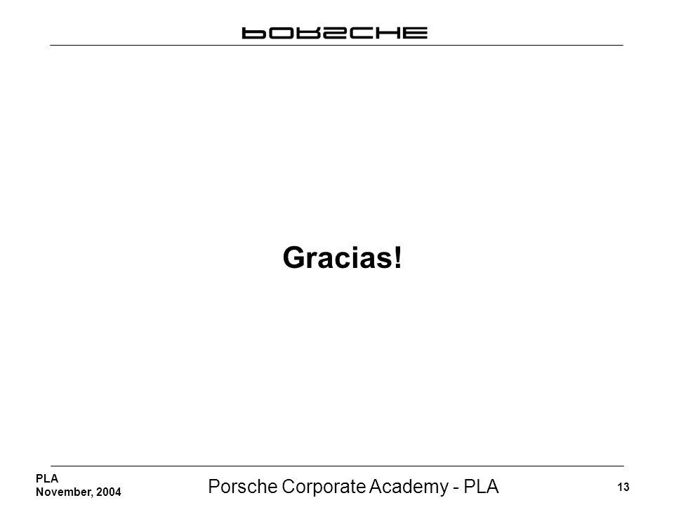 Porsche Corporate Academy - PLA 13 PLA November, 2004 Gracias!