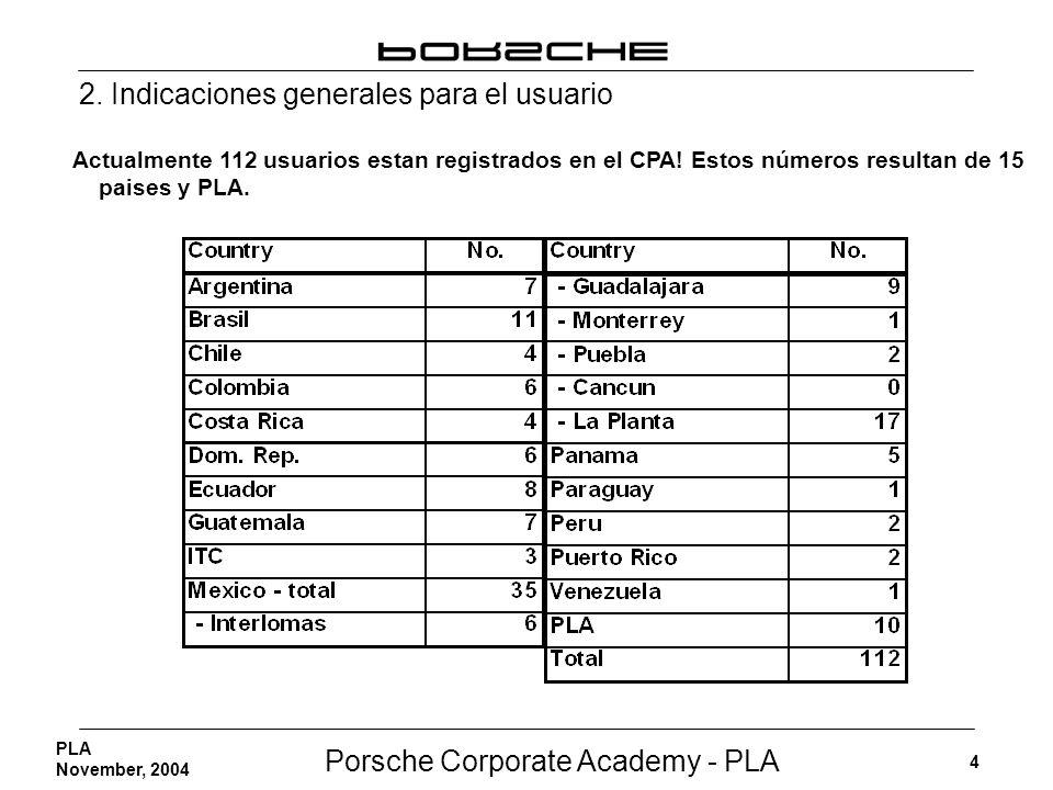 Porsche Corporate Academy - PLA 4 PLA November, 2004 2. Indicaciones generales para el usuario Actualmente 112 usuarios estan registrados en el CPA! E