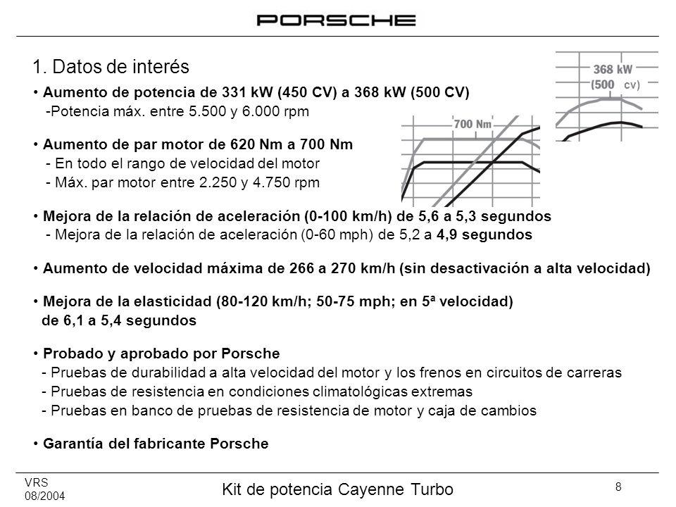 VRS 08/2004 Kit de potencia Cayenne Turbo 8 Aumento de potencia de 331 kW (450 CV) a 368 kW (500 CV) -Potencia máx. entre 5.500 y 6.000 rpm Aumento de