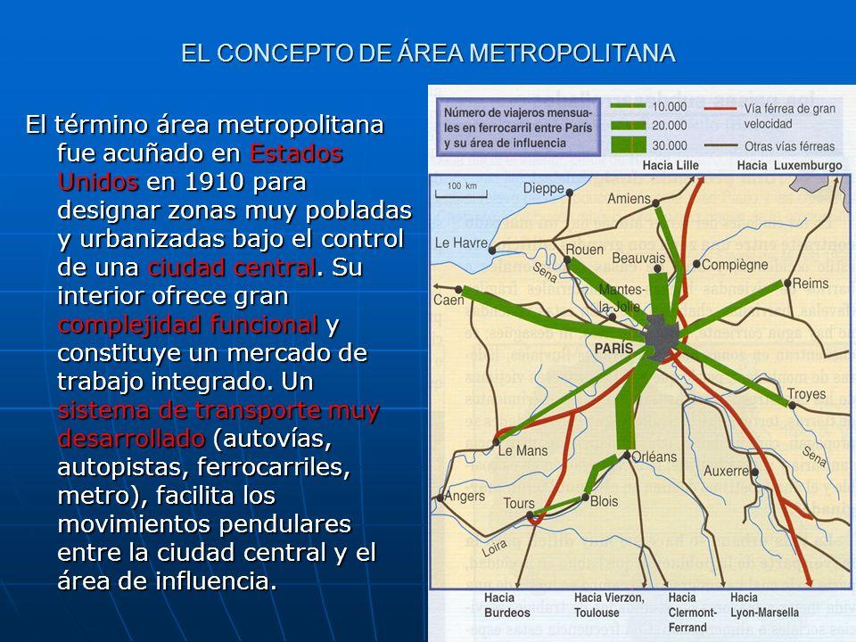 EL CONCEPTO DE ÁREA METROPOLITANA El término área metropolitana fue acuñado en Estados Unidos en 1910 para designar zonas muy pobladas y urbanizadas b