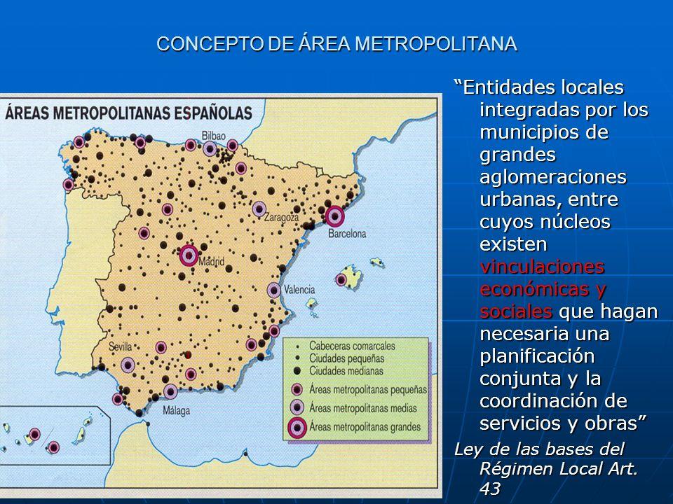CONCEPTO DE ÁREA METROPOLITANA Entidades locales integradas por los municipios de grandes aglomeraciones urbanas, entre cuyos núcleos existen vinculac