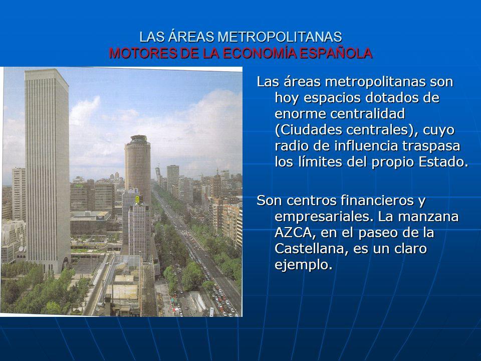 LAS ÁREAS METROPOLITANAS MOTORES DE LA ECONOMÍA ESPAÑOLA Las áreas metropolitanas son hoy espacios dotados de enorme centralidad (Ciudades centrales),