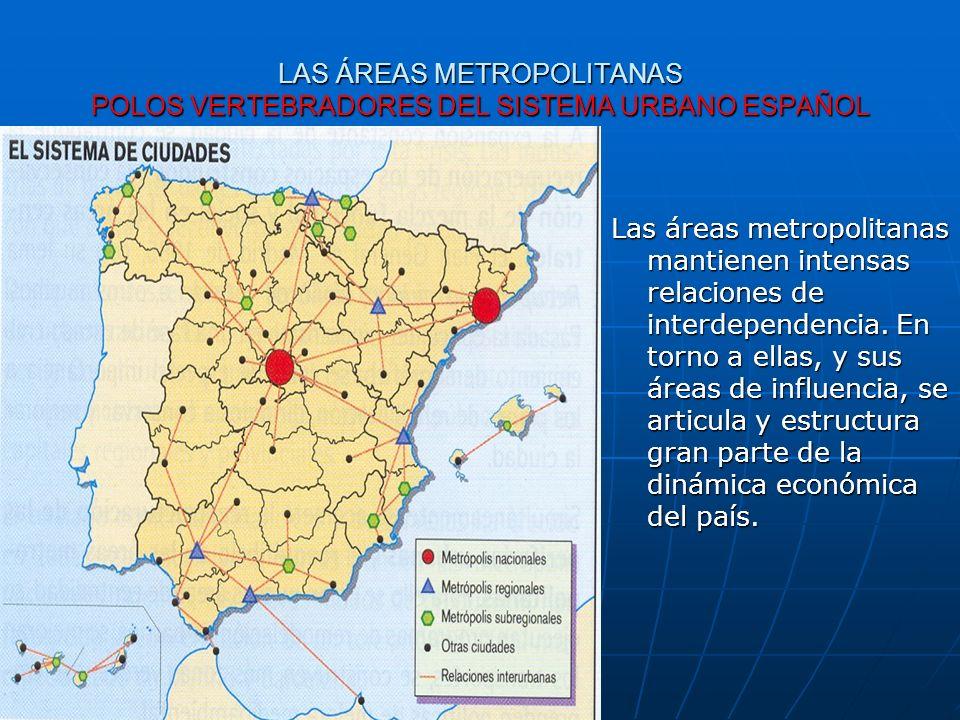 LAS ÁREAS METROPOLITANAS POLOS VERTEBRADORES DEL SISTEMA URBANO ESPAÑOL Las áreas metropolitanas mantienen intensas relaciones de interdependencia. En