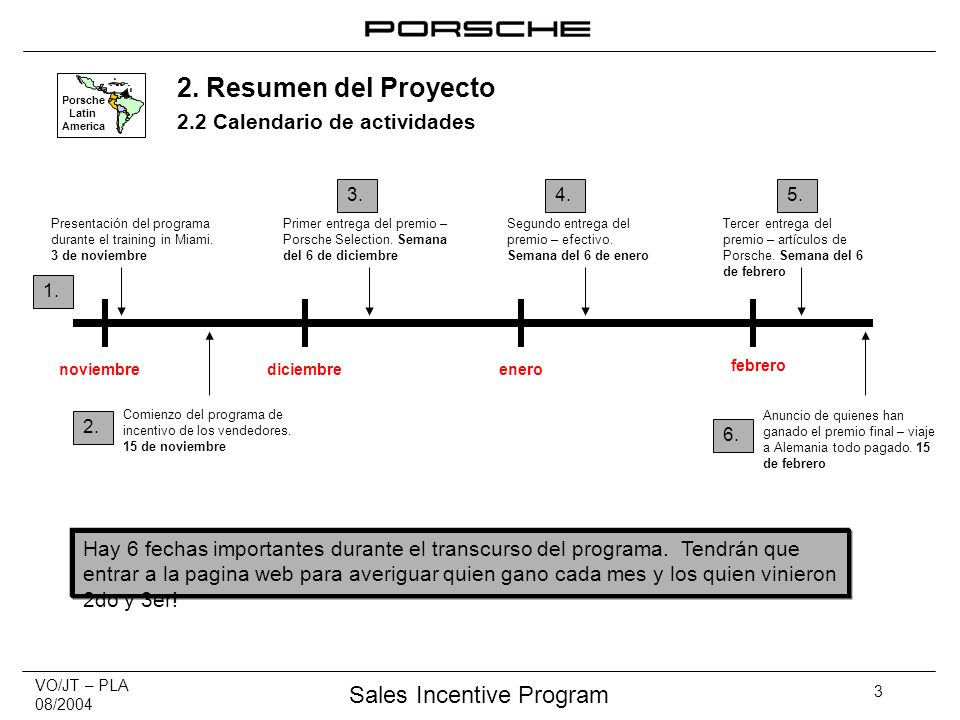 VO/JT – PLA 08/2004 Sales Incentive Program 3 Porsche Latin America 2.