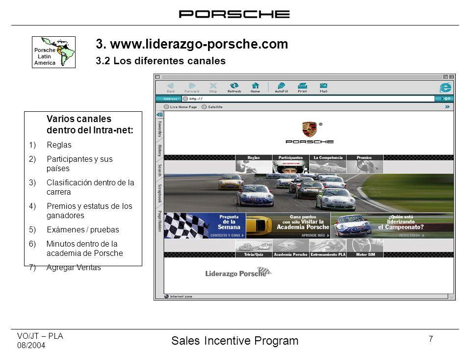 VO/JT – PLA 08/2004 Sales Incentive Program 7 Varios canales dentro del Intra-net: 1)Reglas 2)Participantes y sus países 3)Clasificación dentro de la carrera 4)Premios y estatus de los ganadores 5)Exámenes / pruebas 6)Minutos dentro de la academia de Porsche 7)Agregar Ventas Porsche Latin America 3.