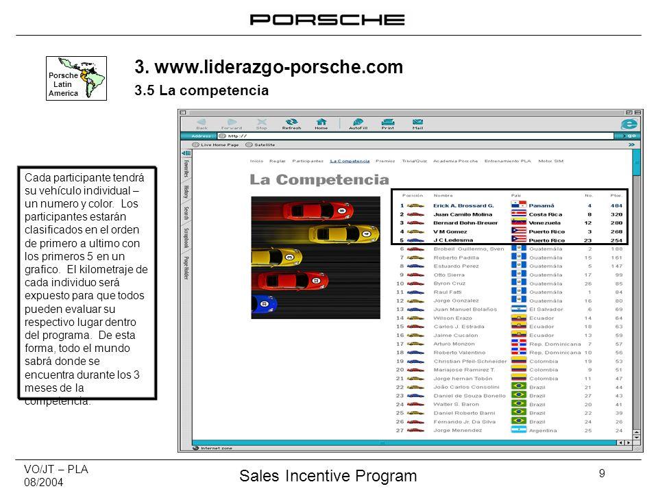 VO/JT – PLA 08/2004 Sales Incentive Program 9 Porsche Latin America Cada participante tendrá su vehículo individual – un numero y color.