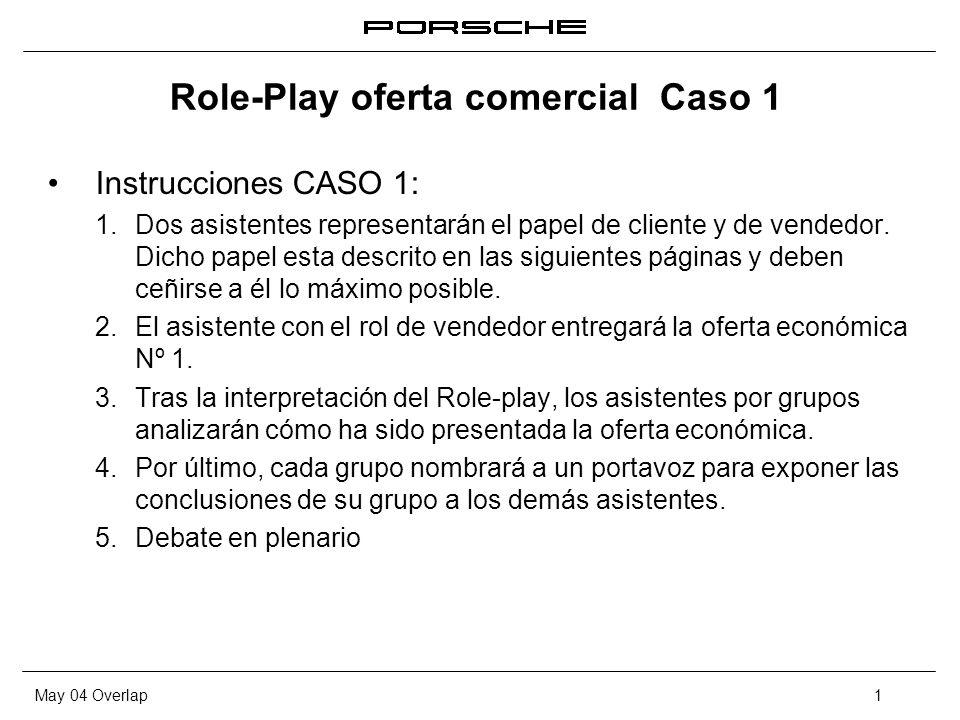 May 04 Overlap1 Role-Play oferta comercial Caso 1 Instrucciones CASO 1: 1. Dos asistentes representarán el papel de cliente y de vendedor. Dicho papel