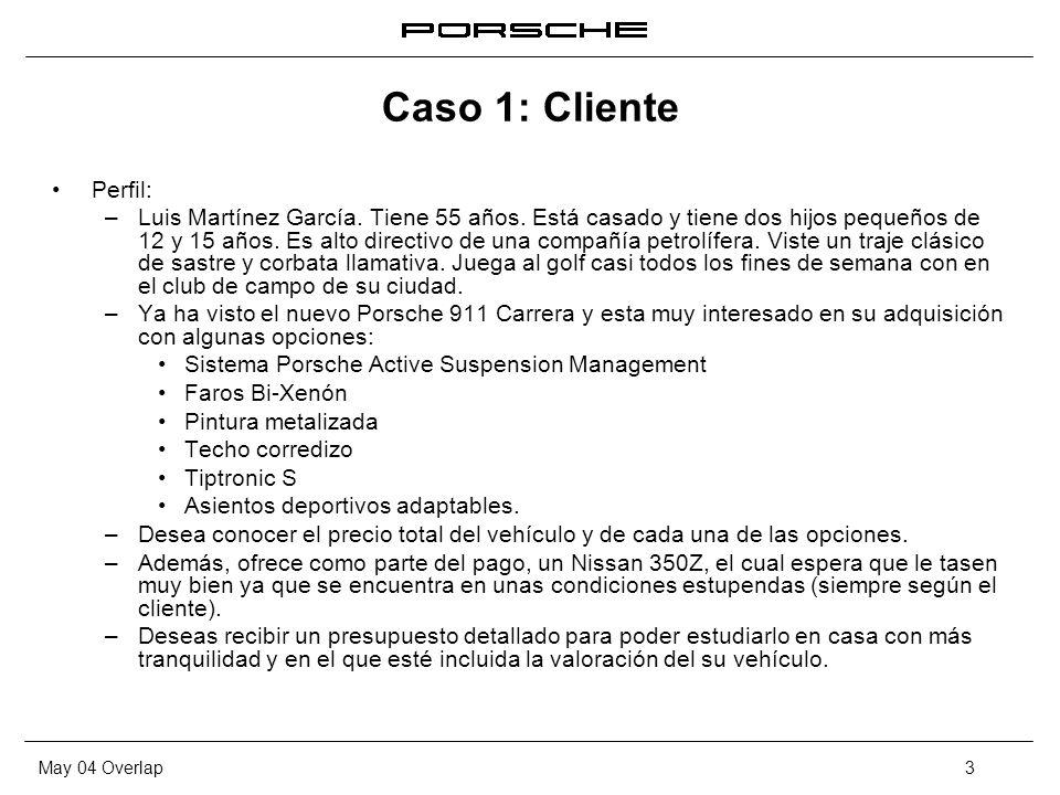 May 04 Overlap3 Caso 1: Cliente Perfil: – Luis Martínez García. Tiene 55 años. Está casado y tiene dos hijos pequeños de 12 y 15 años. Es alto directi