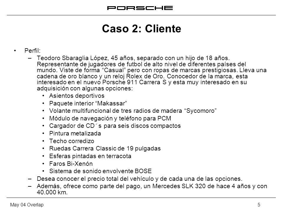 May 04 Overlap5 Caso 2: Cliente Perfil: – Teodoro Sbaraglia López, 45 años, separado con un hijo de 18 años. Representante de jugadores de futbol de a