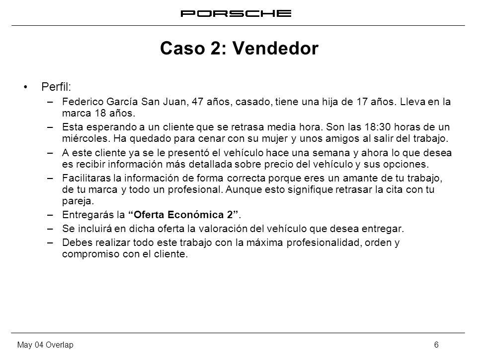 May 04 Overlap6 Caso 2: Vendedor Perfil: – Federico García San Juan, 47 años, casado, tiene una hija de 17 años. Lleva en la marca 18 años. – Esta esp