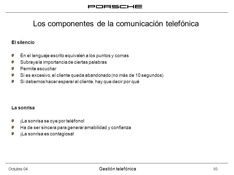 Octubre 04 Gestión telefónica 10 Los componentes de la comunicación telefónica El silencio En el lenguaje escrito equivalen a los puntos y comas Subra