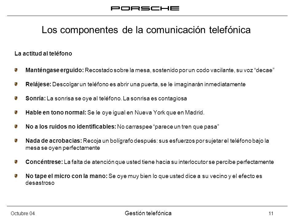 Octubre 04 Gestión telefónica 11 Los componentes de la comunicación telefónica La actitud al teléfono Manténgase erguido: Recostado sobre la mesa, sos
