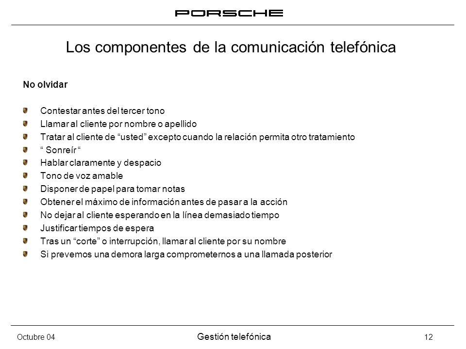 Octubre 04 Gestión telefónica 12 Los componentes de la comunicación telefónica No olvidar Contestar antes del tercer tono Llamar al cliente por nombre