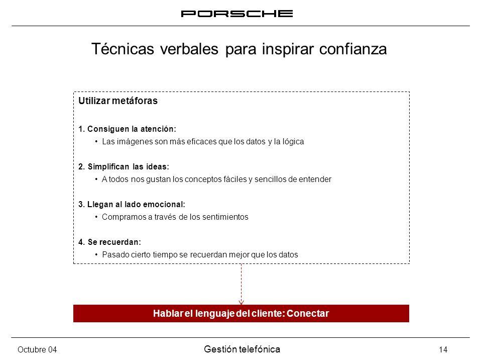Octubre 04 Gestión telefónica 14 Técnicas verbales para inspirar confianza Utilizar metáforas 1. Consiguen la atención: Las imágenes son más eficaces