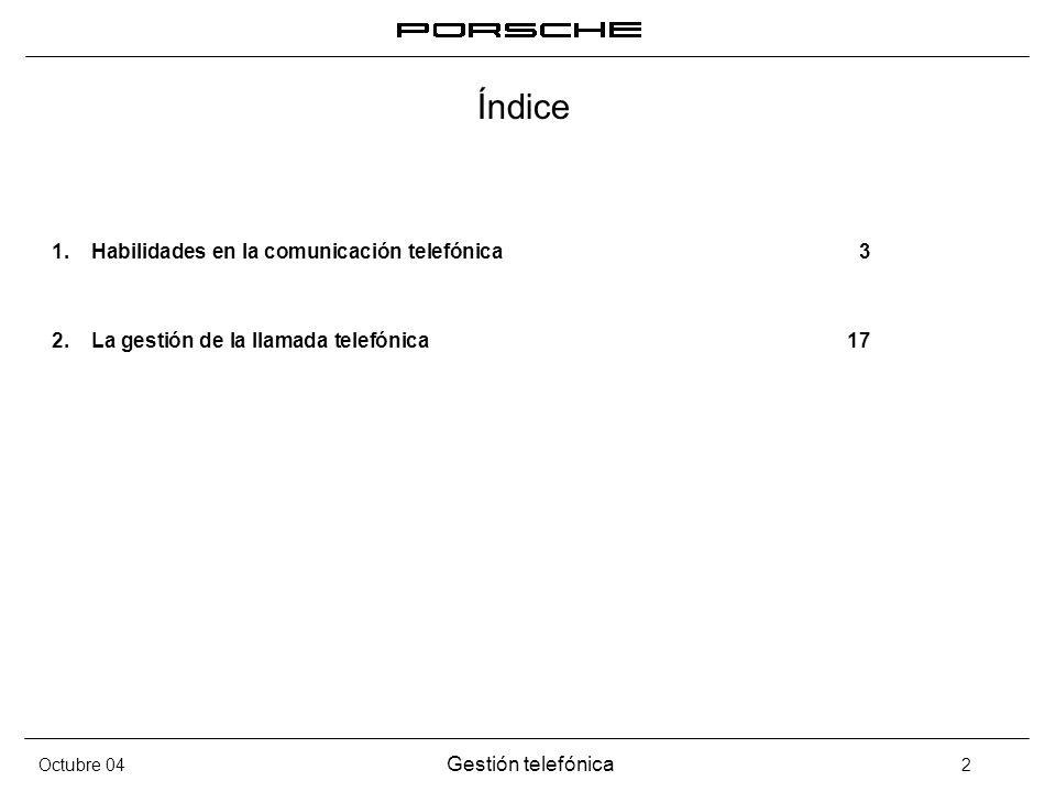 Gestión telefónica 2 Índice 1.Habilidades en la comunicación telefónica3 2.La gestión de la llamada telefónica17