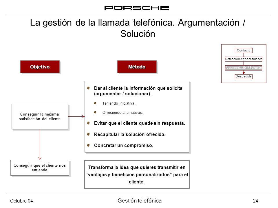 Octubre 04 Gestión telefónica 24 La gestión de la llamada telefónica. Argumentación / Solución ObjetivoObjetivo Conseguir la máxima satisfacción del c