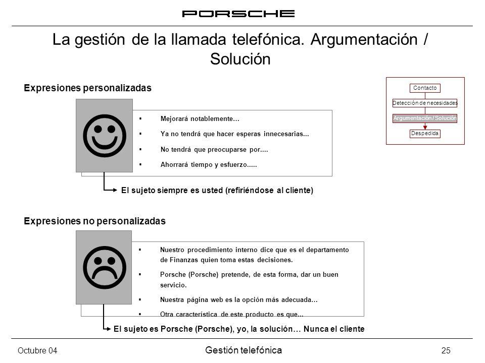 Octubre 04 Gestión telefónica 25 La gestión de la llamada telefónica. Argumentación / Solución Expresiones personalizadas Expresiones no personalizada