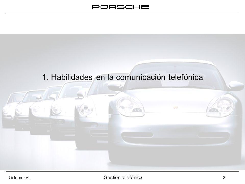 Octubre 04 Gestión telefónica 4 Habilidades en la comunicación telefónica Solo contamos con el 30% de nuestras posibilidades para comunicarnos 10% Uso de las palabras 20% Tono de la voz 70% Lenguaje corporal