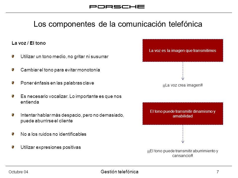 Octubre 04 Gestión telefónica 7 Los componentes de la comunicación telefónica La voz / El tono Utilizar un tono medio, no gritar ni susurrar Cambiar e