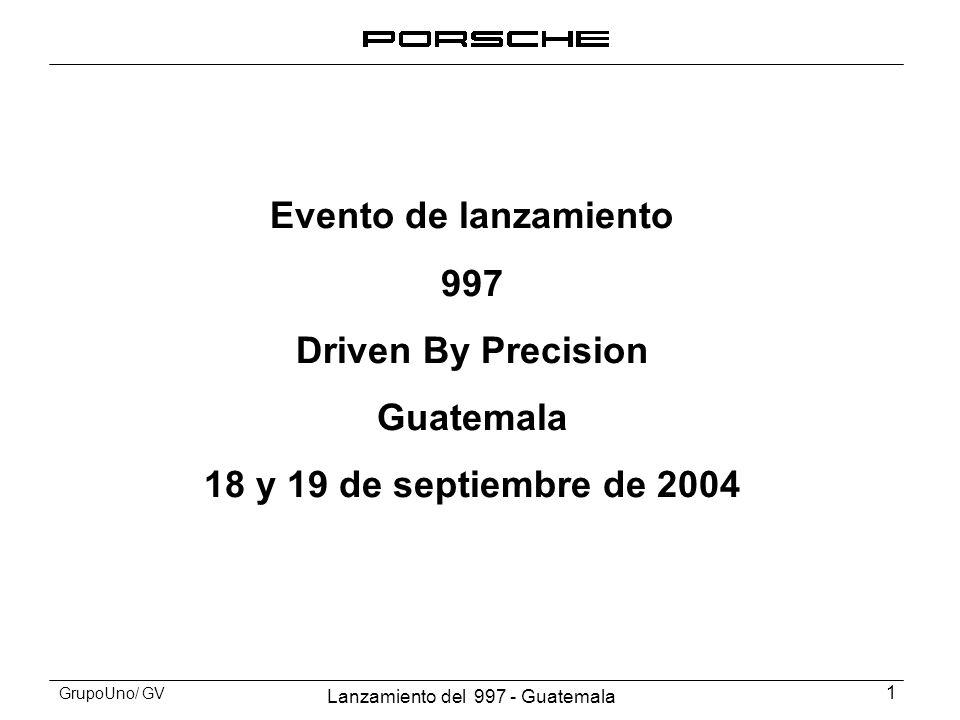 Lanzamiento del 997 - Guatemala 2 GrupoUno/ GV Contenido 1.Objetivos 2.Invitados 3.Autódromo 4.Decoración 5.Resultados